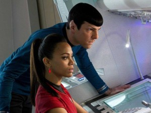 Spock and Uhura, in a rare moment of not-kissing.